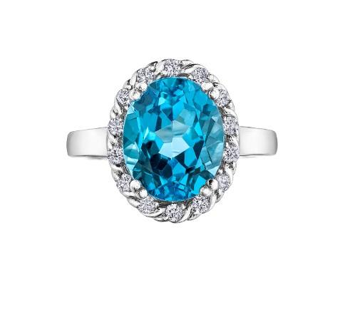 10kt White Gold Blue Topaz Diamond Halo Ring