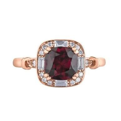 10kt Rose Gold Rho. Garnet and Diamonds Ring