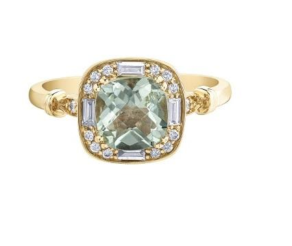 10kt Gold Green Amethyst and Diamonds Ring