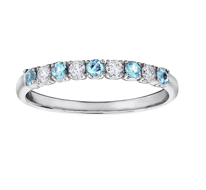 10kt White Gold White and Blue Topaz Ring