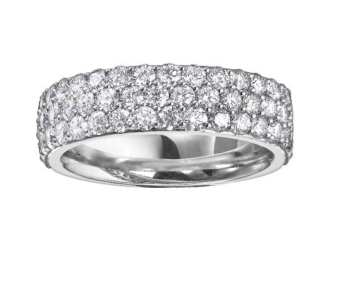 14kt White Gold Three Row 1.50cttw Diamond Ring