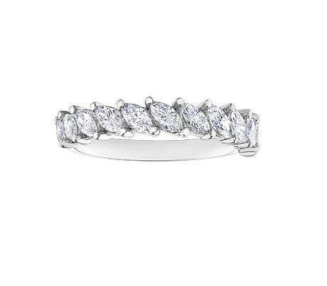 14kt White Gold 0.88cttw Marquise Cut Diamond Wedding Band