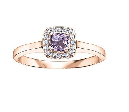 10KT Rose Square Halo Pink Amethyst Ring