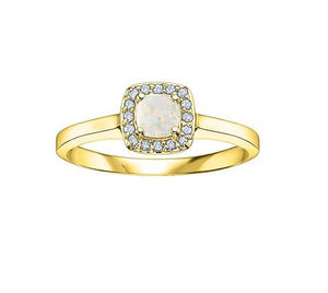 10KT Gold Square Halo Opal Ring