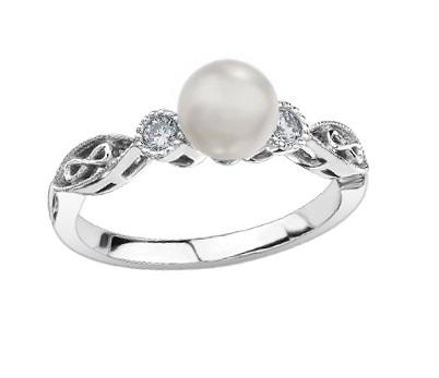 10kt White Gold Pearl and Diamond Infinity Ring