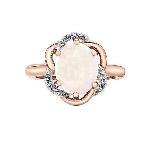 10KT Rose Gold Opal and Diamond Ring