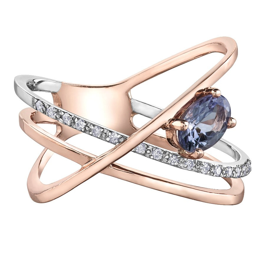 10KT ROSE GOLD 0.068CTTW DIAMOND AND TANZANITE DINNER RING