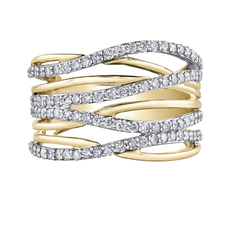 10KT YELLOW GOLD 1.00CTTW PAVE DINNER RING