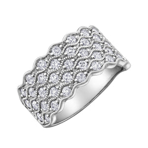 10KT WHITE GOLD 1.00CTTW MILLED EDGES DIAMOND RINGS