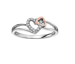 10kt White And Rose Gold Heart Diamond Ring