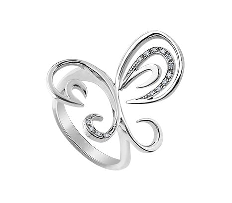 Sterling Silver And Diamond Butterfly Ring