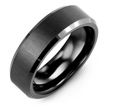 Men's Brush & Beveled Black Ceramic Wedding Band