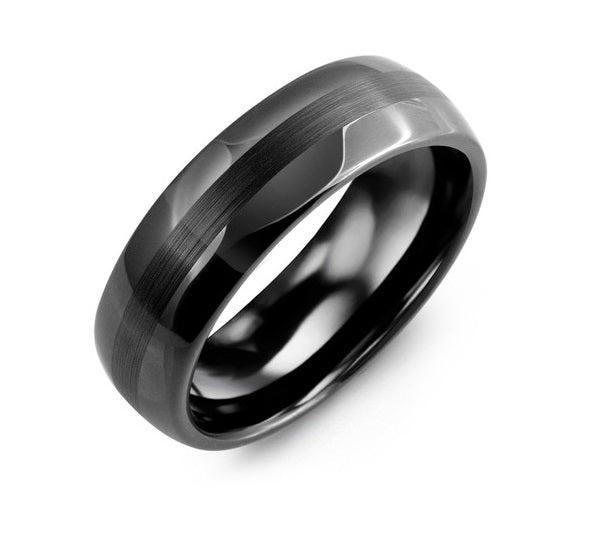 Men's Ceramic Two Band Effect Wedding Band