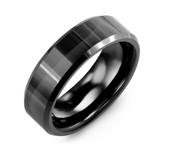 Men's Polished Beveled Black Ceramic Wedding Ring