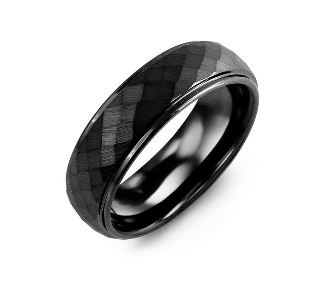 Men's Matte Hammer Black Ceramic Wedding Ring