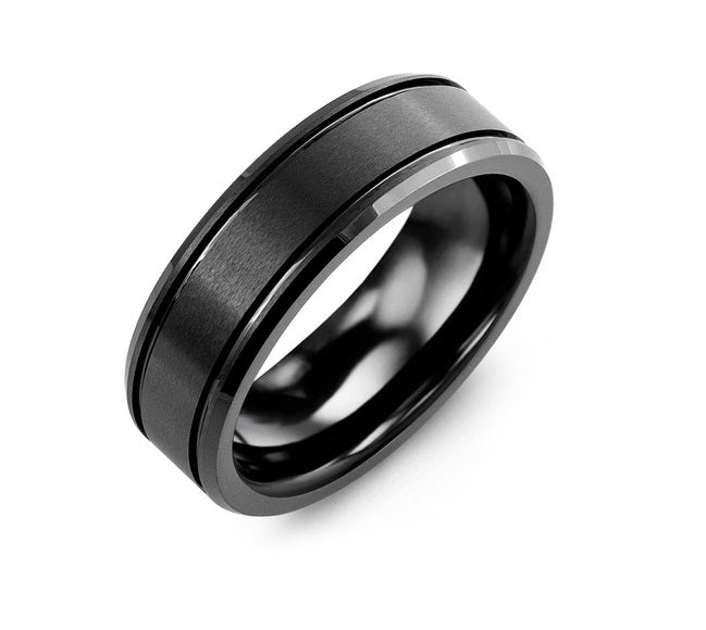 Men's Beveled Brush Black Ceramic Wedding Band