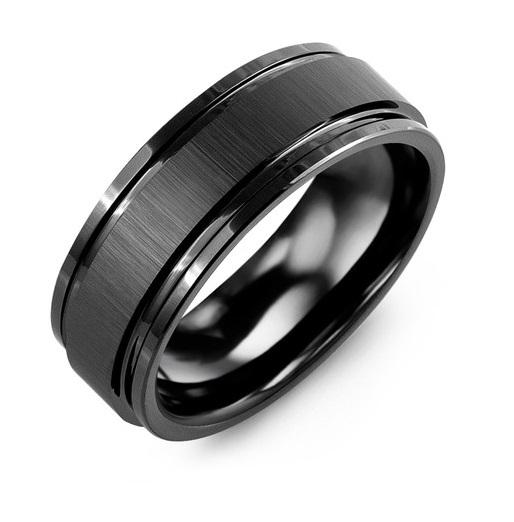 Satin Center Polished Edges Black Men's Wedding Band
