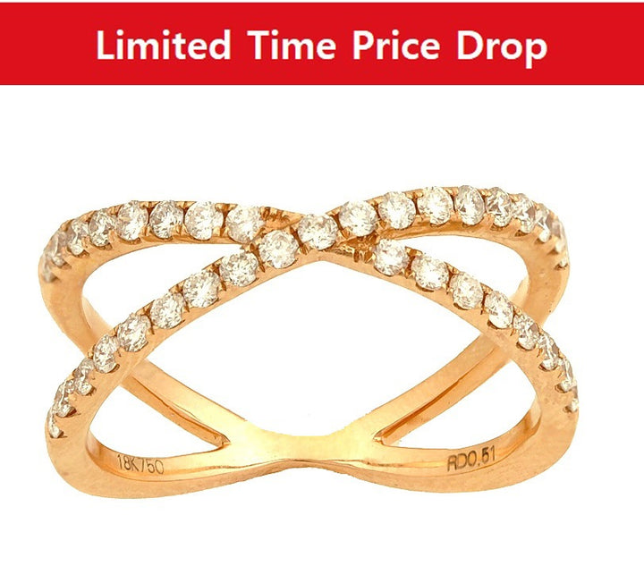 18kt Rose Gold 0.51cttw X Shaped Diamond Ring