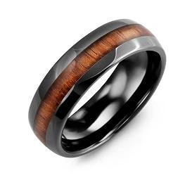 Polished Black Ceramic and Koa Wood Men's Wedding Band