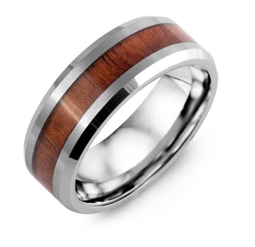 Beveled Koa Wood Tungsten Men's Wedding Band