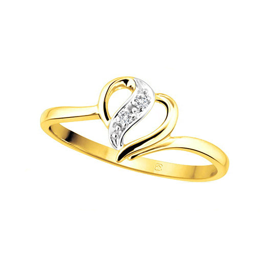 10kt Yellow Gold Heart Diamond Ring