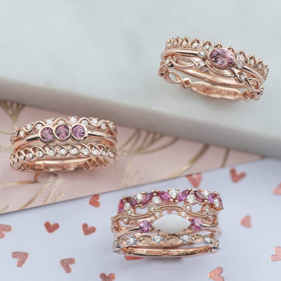 10kt Rose Gold Diamond Stackable Ring