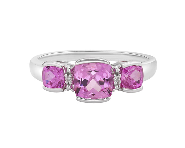 10kt White Gold Pink Sapphire And Diamond Ring