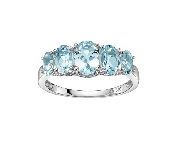 10kt White Gold Five Across Aquamarine Ring