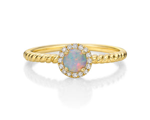 10kt Yellow Gold Opal And Diamond Halo Ring