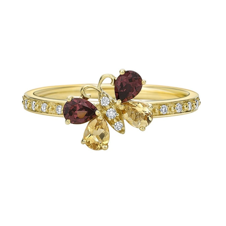10kt Yellow Gold Citron, Garnet, and Diamond Butterfly Ring