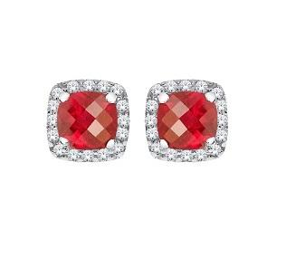10KT White Gold Ruby and Diamond Stud Earrings