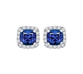 10KT White Gold Sapphire and Diamond Stud Earrings