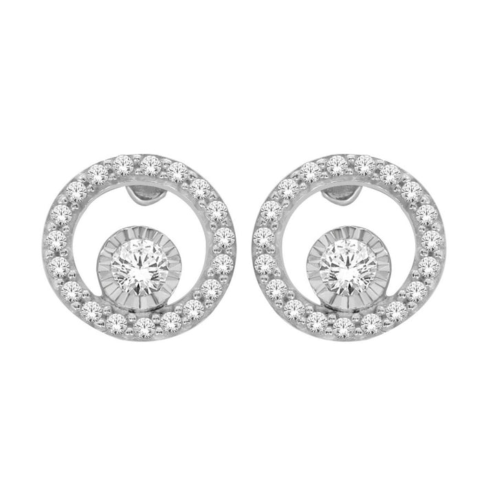 10KT WHITE GOLD 0.50CTTW CIRCLE OF LOVE STUD EARRINGS