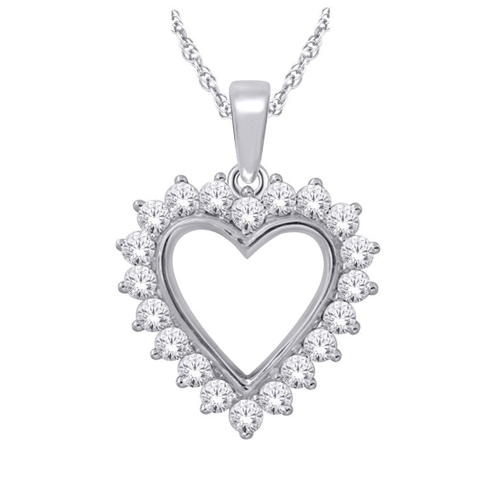 10kt White Gold 1.00cttw Diamond Heart Pendant