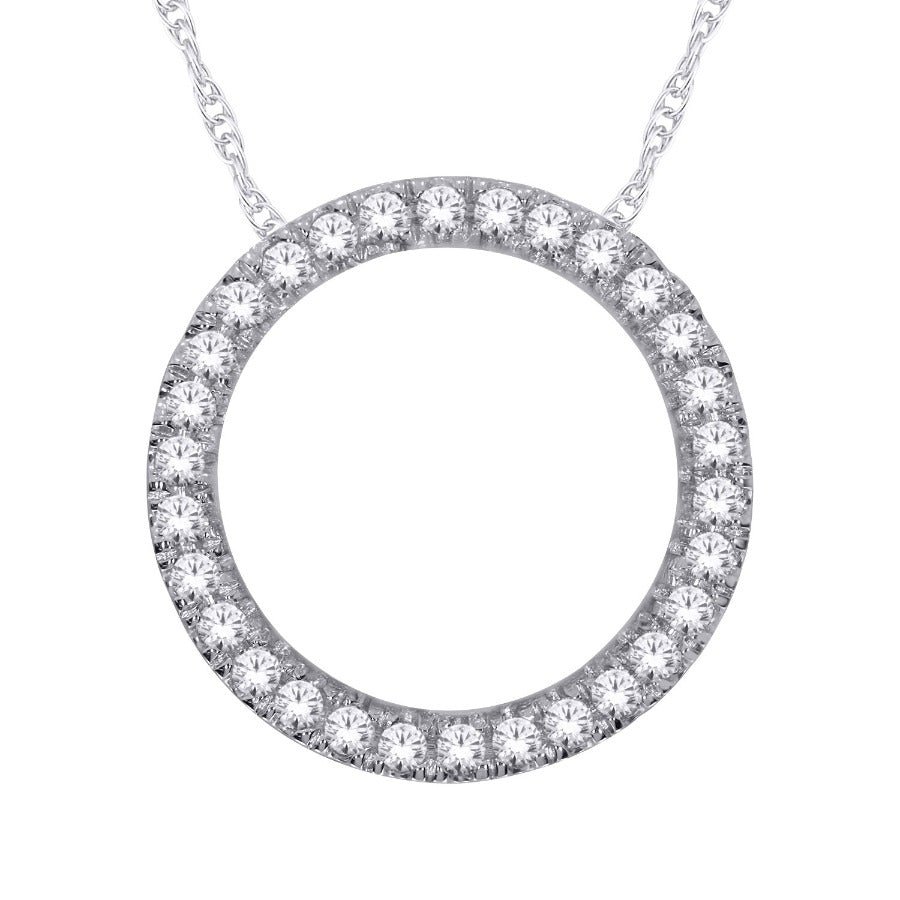10kt White Gold 0.25cttw Diamond Circle Pendant