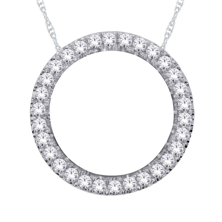 10kt White Gold 1.00cttw Diamond Circle Pendant