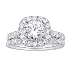 14kt White Gold 2.00cttw Certified Halo Engagement Ring and Wedding Band Set