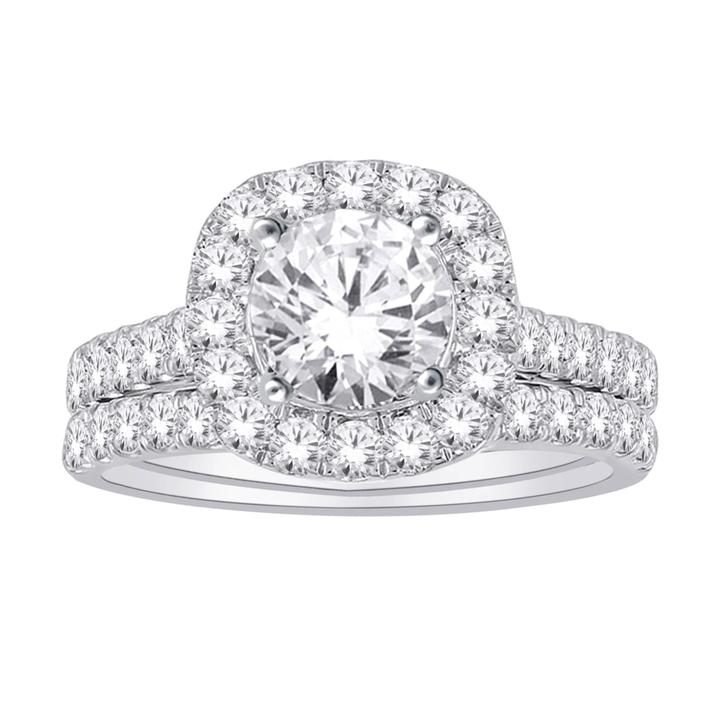 14kt White Gold 2.00cctw Certified Halo Engagement Ring and Wedding Band Set