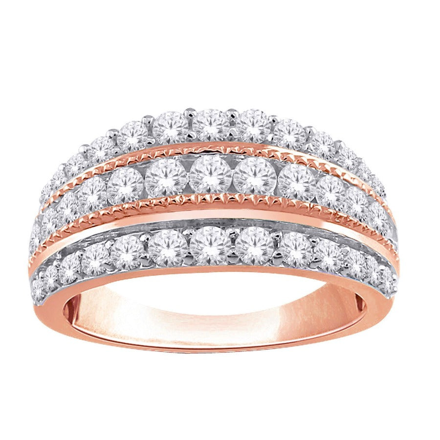 10KT ROSE GOLD 1.00CTTW THREE ROW DIAMOND BAND