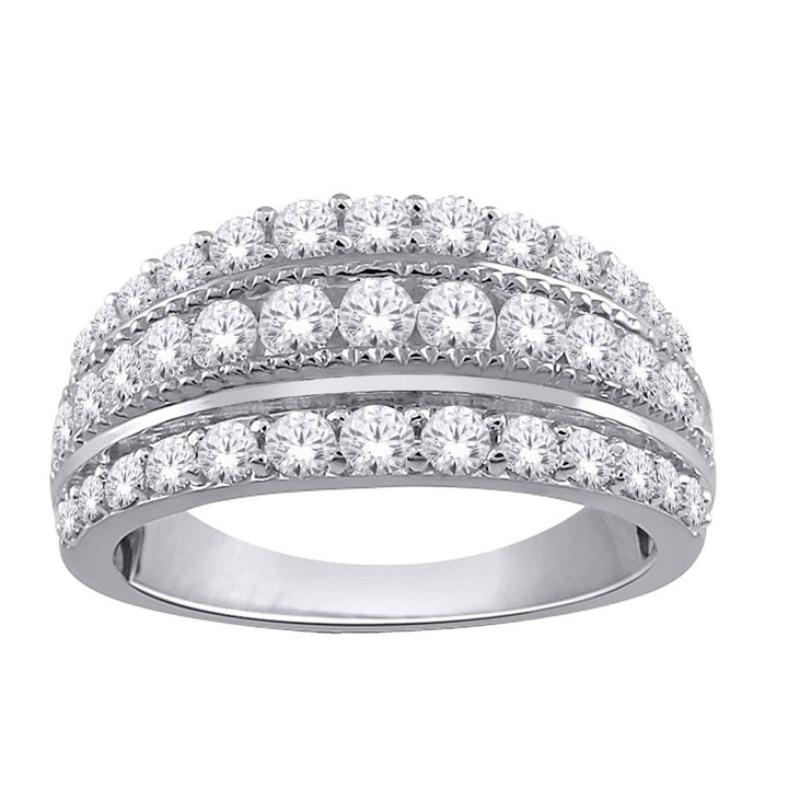 10KT WHITE GOLD 0.50cTTW THREE ROW DIAMOND BAND