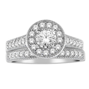 10kt White Gold 0.50cttw Round Halo Diamond Wedding Set