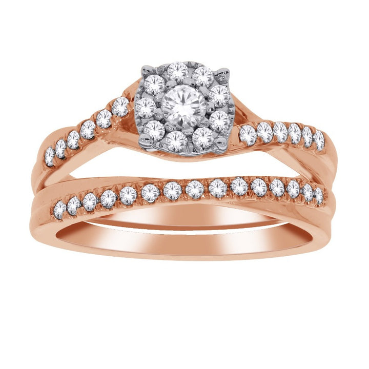 10kt Rose Gold 0.50cttw Diamond Wedding Set