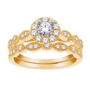 10kt Yellow Gold 0.50cttw Round Halo Diamond Engagement Set