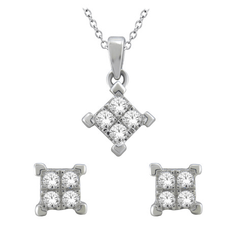 10KT WHITE GOLD 0.25CTTW PENDANT AND EARRINGS SET
