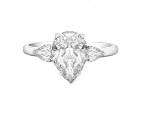 18kt White Gold 3.76cttw Pear Diamond Engagement Ring