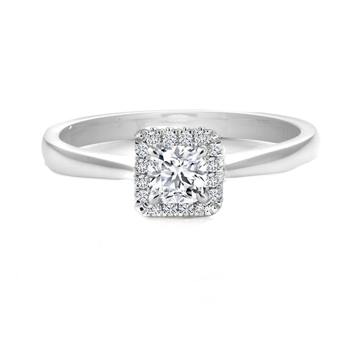 14kt Gold 0.57cttw Cushion Halo Canadian Diamond Engagement Ring