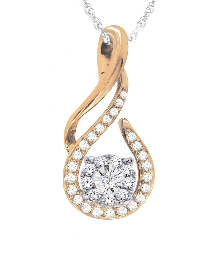 10kt Two Tone 0.15cttw Diamond Pendant