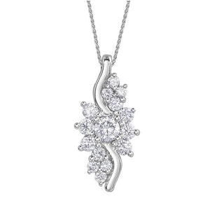 10KT WHITE GOLD 0.50CTTW  DIAMOND PENDANT