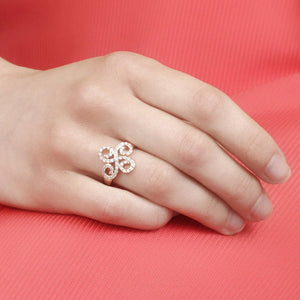 10KT ROSE GOLD 0.50CTTW PAVE SWIRL DIAMOND RING