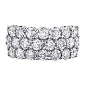 10KT WHITE GOLD 3.00CTTW THREE ROW DIAMOND BAND